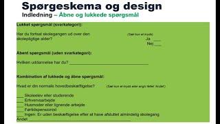 Spørgeskema, design og opbygning samt regneeksempler (fuld længde) - Statistik med Michael René