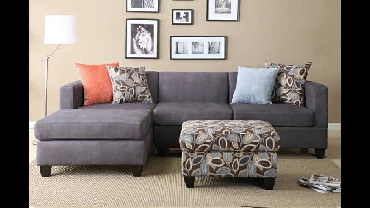 2 pc charcoal microfiber sectional sofa with reversible for V shaped living room