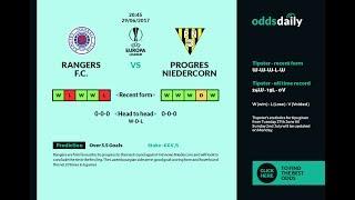 RANGERS vs NIEDERCORN 29/06/2017 match prediction and bet UEFA Europe League Qualification.