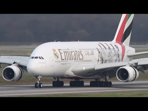 REAL MADRID (Emirates) Airbus A380 LANDING