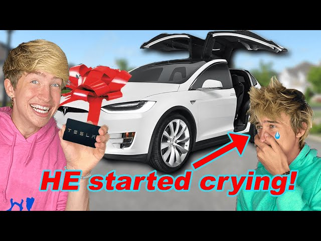 I Gave a TESLA to my brother! **VERY EMOTIONAL**