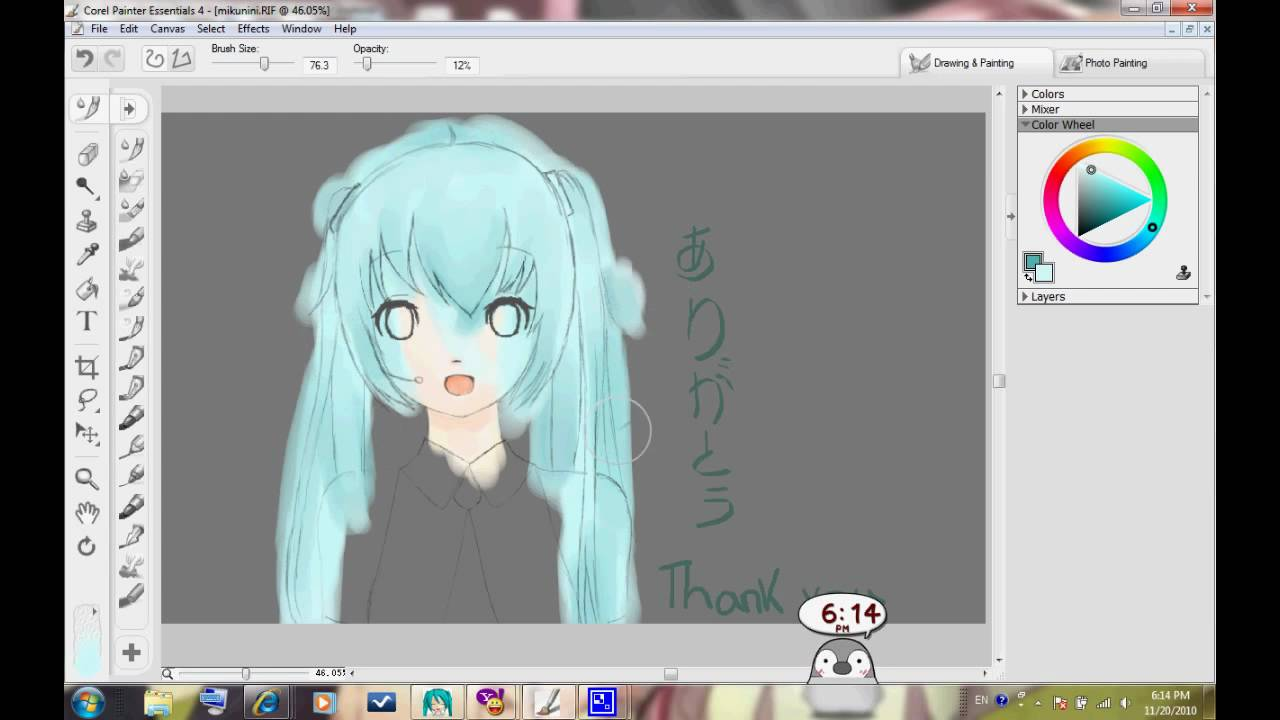 Speed Painting Hatsune Miku Corel Painter Essentials 4