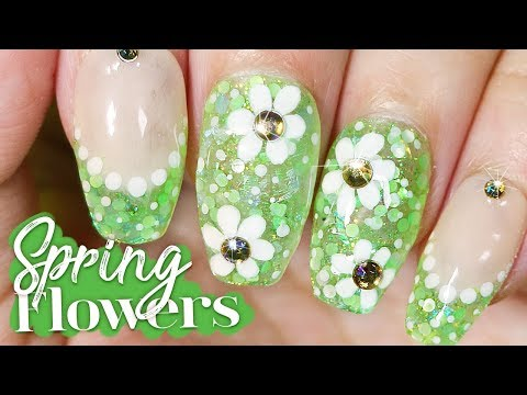 Spring Flowers Nail Art Tutorial // How to Nail Art at Home - YouTube