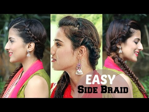 5 Minute EASY Side BRAIDED Indian Hairstyle For Diwali / Disha Patani / Fishtail Braid Hairstyles