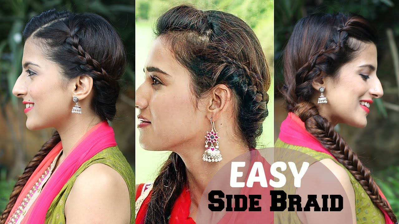 5 minute easy side braided indian hairstyle | fishtail braid hairstyles |  disha patani