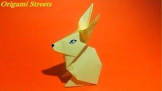 Как сделать зайчика из бумаги. Оригами зайчик.