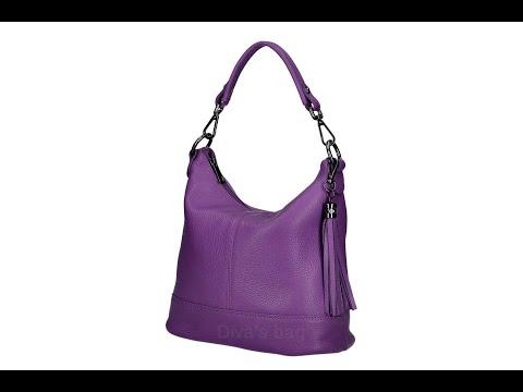 義大利製100%真皮-流蘇側肩包附斜揹帶(紫色)