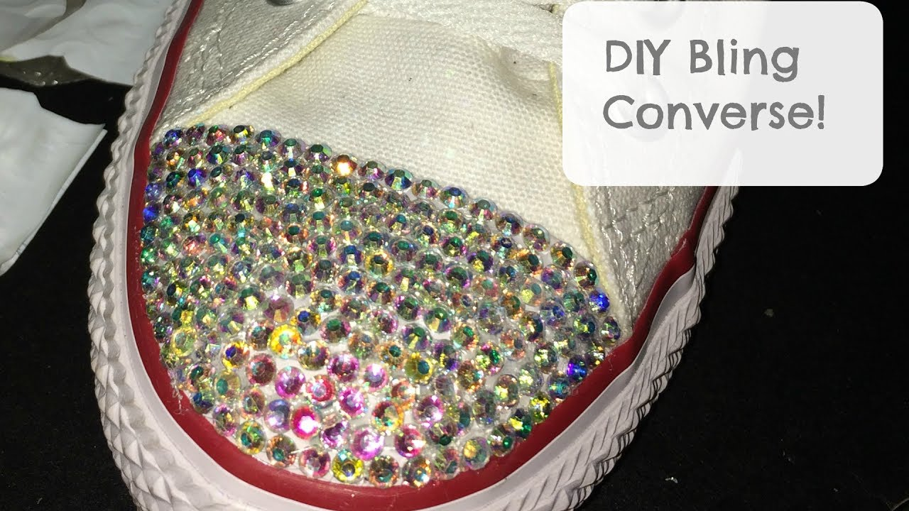 32c911459aa0ae DIY BLING rhinestone CONVERSE shoes (How to) tortorial - YouTube