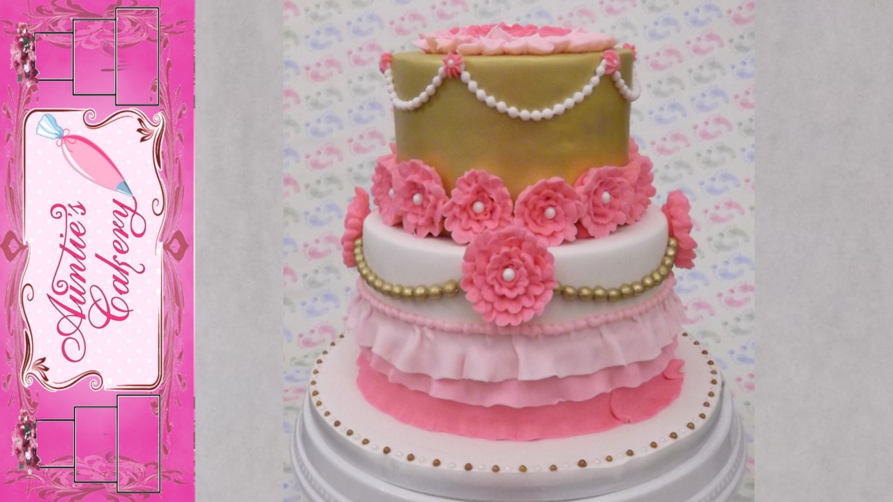 Pink Gold Floral Birthday Cake Youtube