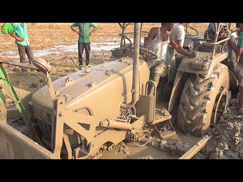 John Deere stuck in Mud very Badly Rescue by Eicher 380 and Sonalika 60 Rx Day-1