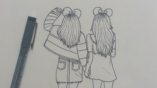 How to Draw Best Friends (BFF) Easy | Step by Step