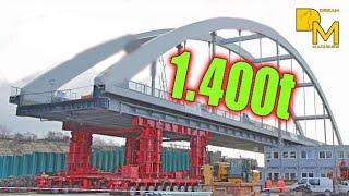 1400 ton MEGA SCHWERTRANSPORT BAUSTELLE DOKU EISENBAHN BRÜCKE #2