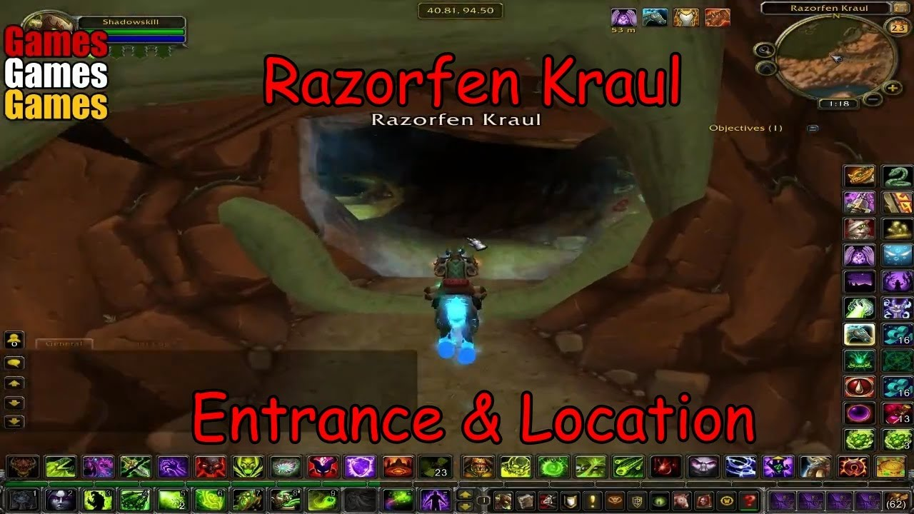 razorfen kraul entrance location world of warcraft original dungeons youtube. Black Bedroom Furniture Sets. Home Design Ideas