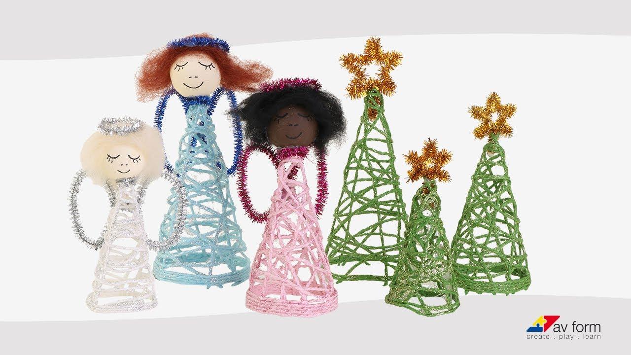 Flotte juletræer og engle af papirgarn