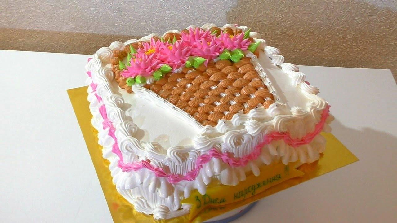 Торт КОРЗИНА С ЦВЕТАМИ Как украсить торт кремом CART cake ...