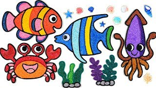 Coloring tropical fish with Foam clay for Kids, Children | fish, squid, crab | studying English