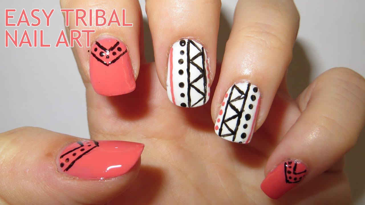 Easy Tribal Nail Art (Requested) - YouTube