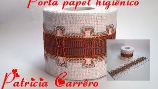 Porta papel higiênico bordado vagonite e aplicação de fita