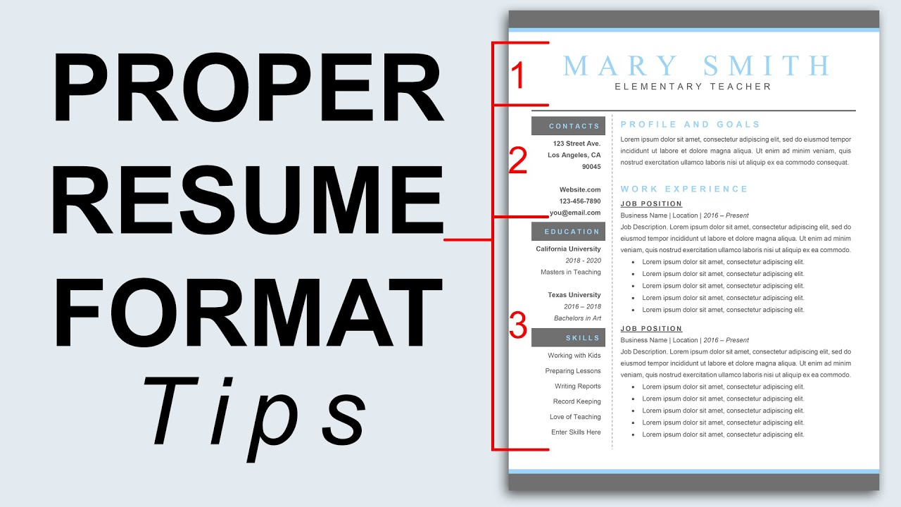Proper Resume Format   Resume Formatting Tips   YouTube  Show Me A Resume