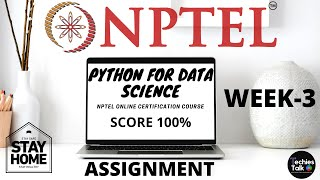 NPTEL Python for Data Science Week 3 Quiz Assignment Solutions || August 2020 || Swayam