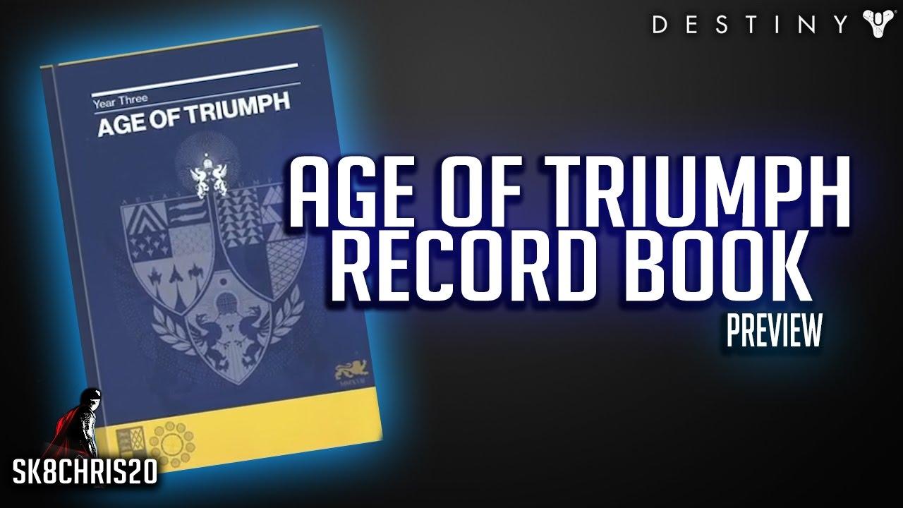 destiny age of triumph record book preview - youtube