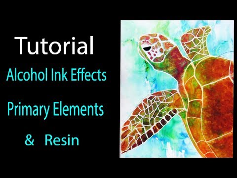 Turtle Love Faux  Alcohol inks- Primary Elements - acrylic resin painting