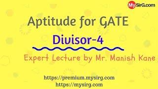 Aptitude for GATE   Divisor 4   Hindi   MySirG.com