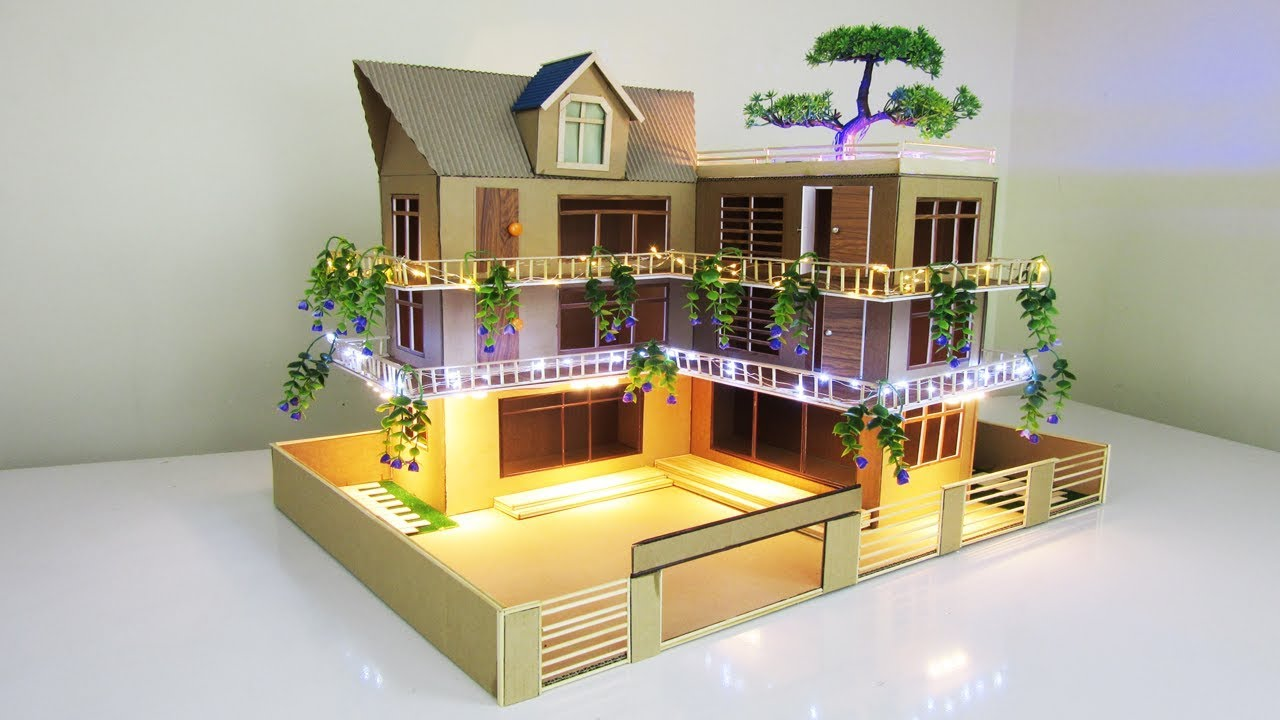 Making A Beautiful Mansion House From Cardboard With Led Lights Dream House Project Model 09