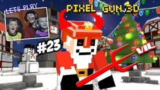Evil Santa Tries to Destroy Christmas Town! Dad & Son Play Pixel Gun 3D (Face Cam Part 23)