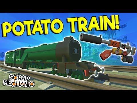 SPUD POWERED TRAIN, CARS & MORE! - Scrap Mechanic Gameplay - Spud Gun Update