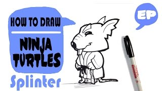 How to Draw a Cute Splinter from Ninja Turtles - Chibi - Easy Pictures to Draw