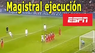 Video Gol de tiro libre James Rodriguez Bayern Munich 3 - 1  Bayer Leverkusen - Relato ESPN