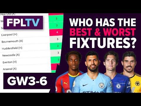 Who Has The Best Fixtures?   Gameweek 3-6   FPL FIXTURE WATCH   Fantasy Premier League