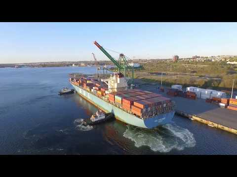Aerial Video - YM MODESTY & MOL PARTNER Docking at Fairview Cove Terminal - Halifax, NS