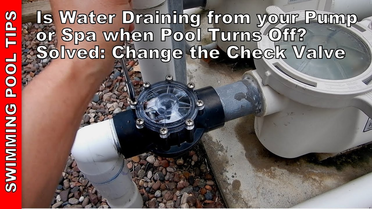 Jacuzzi Pool Main Drain Is Your Water Draining From Your Pump Or Spa When Pool Shuts Off Solved Change The Check Valve