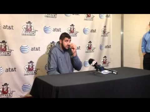 WAC BASKETBALL PRESS CONFERENCE: NMSU center Sim Bhullar