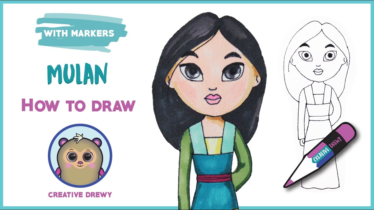 How To Draw Cute Disney Mulan The Warrior Princess And Coloring Drawing Tutorial Youtube