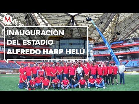 AMLO en la inauguración del estadio Alfredo Harp Helú, en CdMx