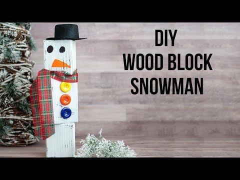 Easy Wood Block Snowman #CreativeChristmas