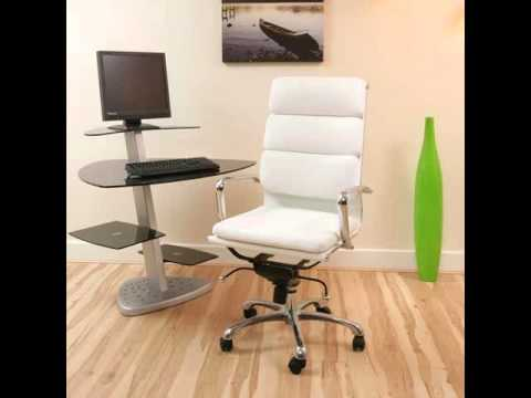 White Leather Office Chair | White - Home Office Desk Chairs - YouTube