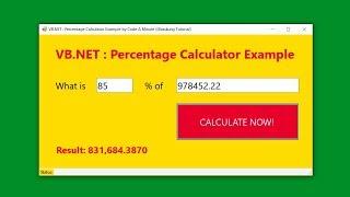 Visual Studio 2019 (VB.NET) How to Create a Percentage Calculator (How to calculate percentages)