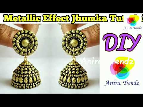 How to make designer Jhumka at Home /Temple Jewellery Antique Metallic Effect Jhumka Earring Making