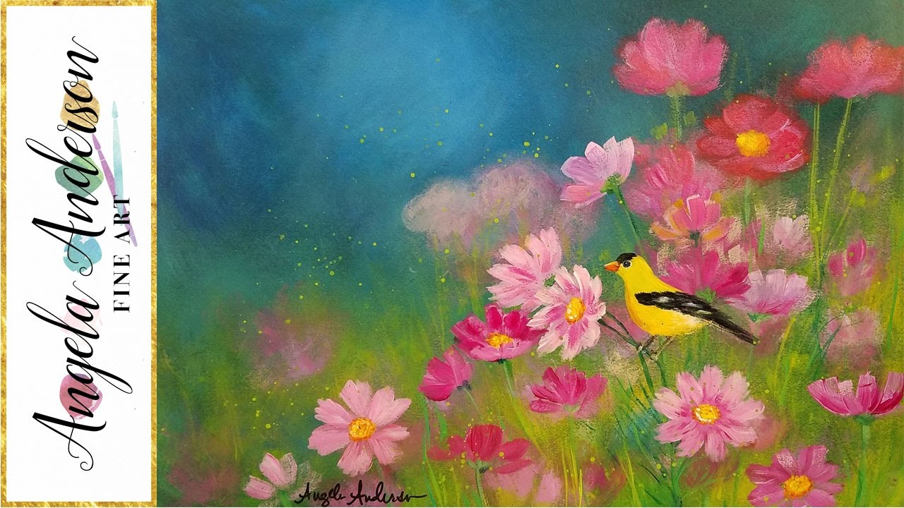 Simple Step By Landscape Acrylic Painting FIELD Of FLOWERS With Bird LIVE Tutorial