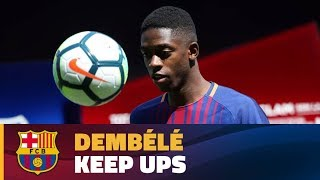 Dembélé touches the ball for the first time as a Barça player