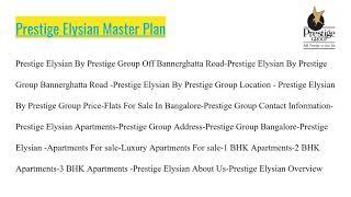 Prestige Elysian Apartments in Bannerghatta Road Bangalore