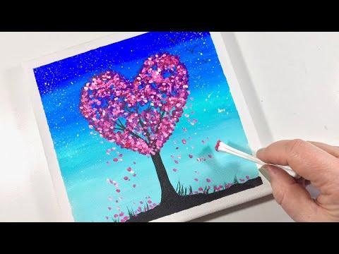 Easy Acrylic Paint A Valentine Heart Tree Love Cherry Blossom Youtube