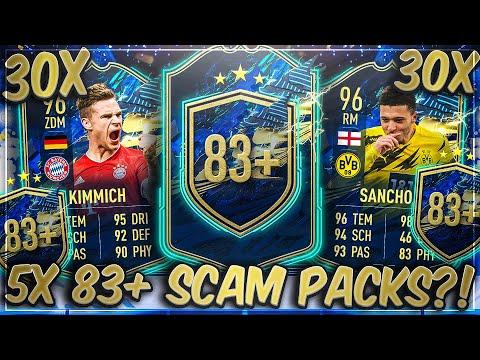 ABSOLUTE SCAM PACKS?! 30x GARANTIERTE 5x 83+ BUNDESLIGA PACKS in FIFA 21