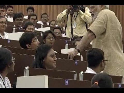 Gujarat: PM Narendra Modi interacts with students at Vadnagar's GMERS Medical College