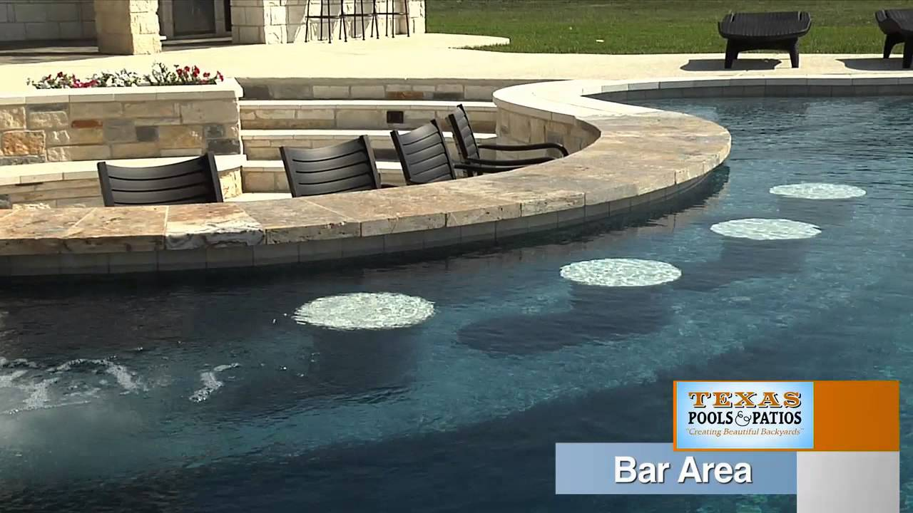 Pool designs with swim up bar Patio Youtube Pool Features Swim Up Bar Texas Pools And Patios Youtube