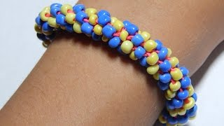 Кумихимо из восьми нитей с крупным бисером/Kumihimo of the eight strands of huge beads